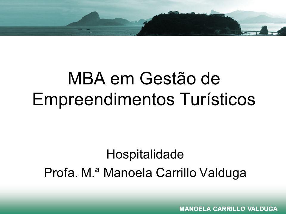 MBA em Gestão de Empreendimentos Turísticos Hospitalidade Profa. M.ª Manoela Carrillo Valduga E-mail: manoela@turismo.uff.br MANOELA CARRILLO VALDUGA