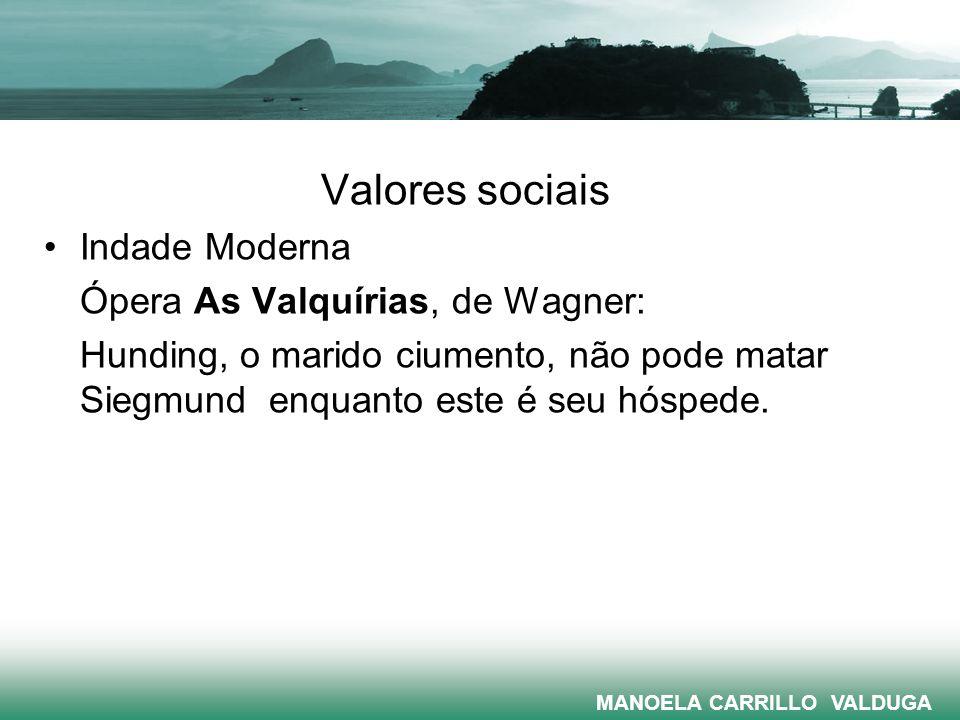 Valores sociais Indade Moderna Ópera As Valquírias, de Wagner: Hunding, o marido ciumento, não pode matar Siegmund enquanto este é seu hóspede. MANOEL