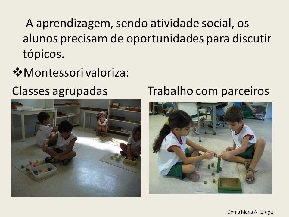 A aprendizagem, sendo atividade social, os alunos precisam de oportunidades para discutir tópicos. Montessori valoriza: Classes agrupadas Trabalho com