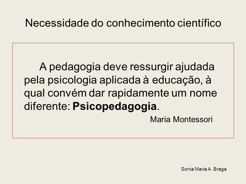 Necessidade do conhecimento científico A pedagogia deve ressurgir ajudada pela psicologia aplicada à educação, à qual convém dar rapidamente um nome d