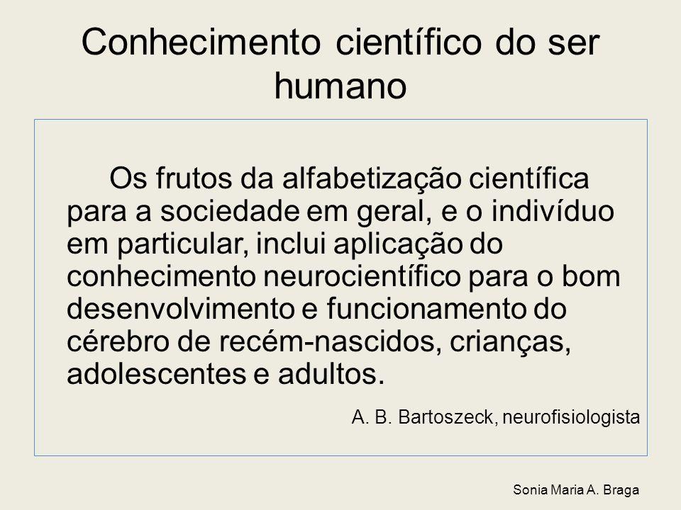 Conhecimento científico do ser humano Os frutos da alfabetização científica para a sociedade em geral, e o indivíduo em particular, inclui aplicação d