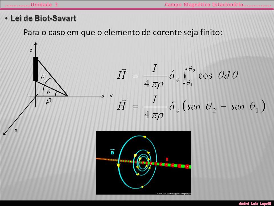 y z x Para o caso em que o elemento de corente seja finito: