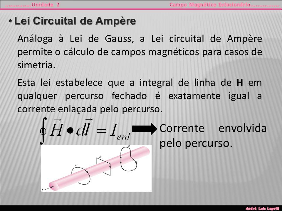 Lei Circuital de AmpèreLei Circuital de Ampère Análoga à Lei de Gauss, a Lei circuital de Ampère permite o cálculo de campos magnéticos para casos de simetria.