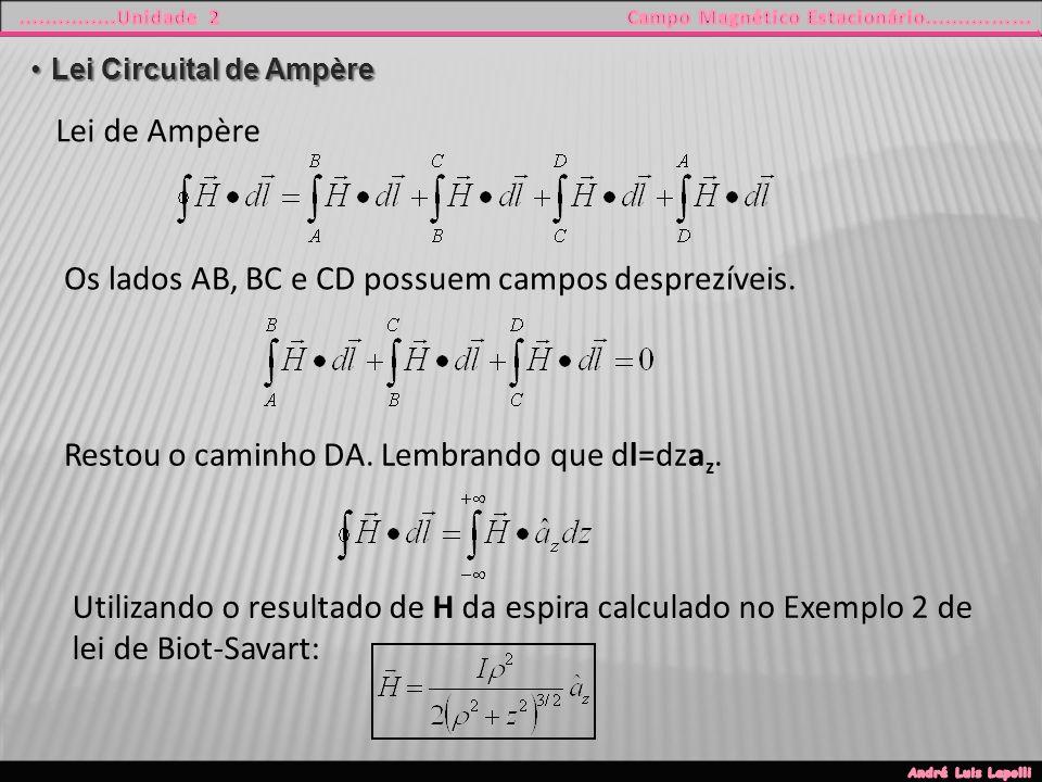 Lei Circuital de AmpèreLei Circuital de Ampère Lei de Ampère Os lados AB, BC e CD possuem campos desprezíveis.