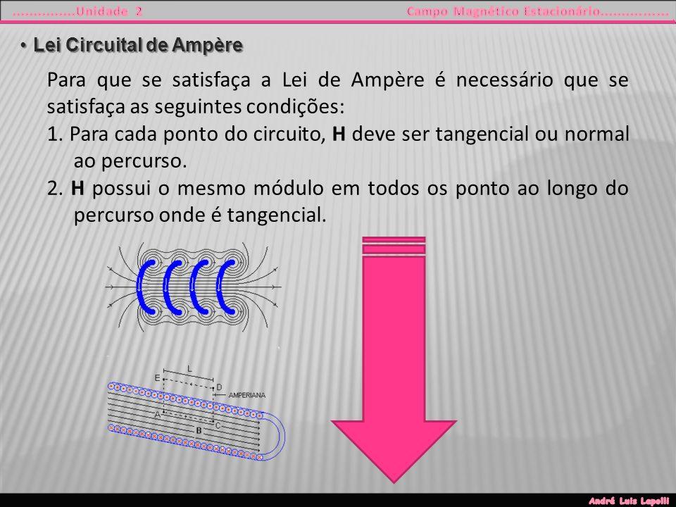 Lei Circuital de AmpèreLei Circuital de Ampère Para que se satisfaça a Lei de Ampère é necessário que se satisfaça as seguintes condições: 1.