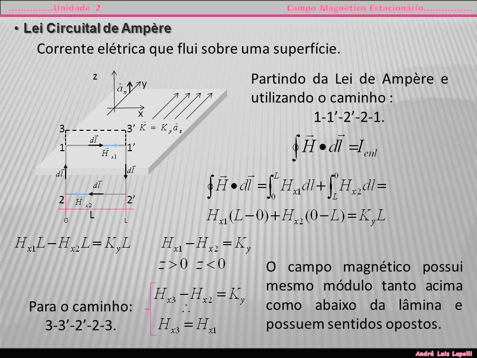 Lei Circuital de AmpèreLei Circuital de Ampère Corrente elétrica que flui sobre uma superfície.