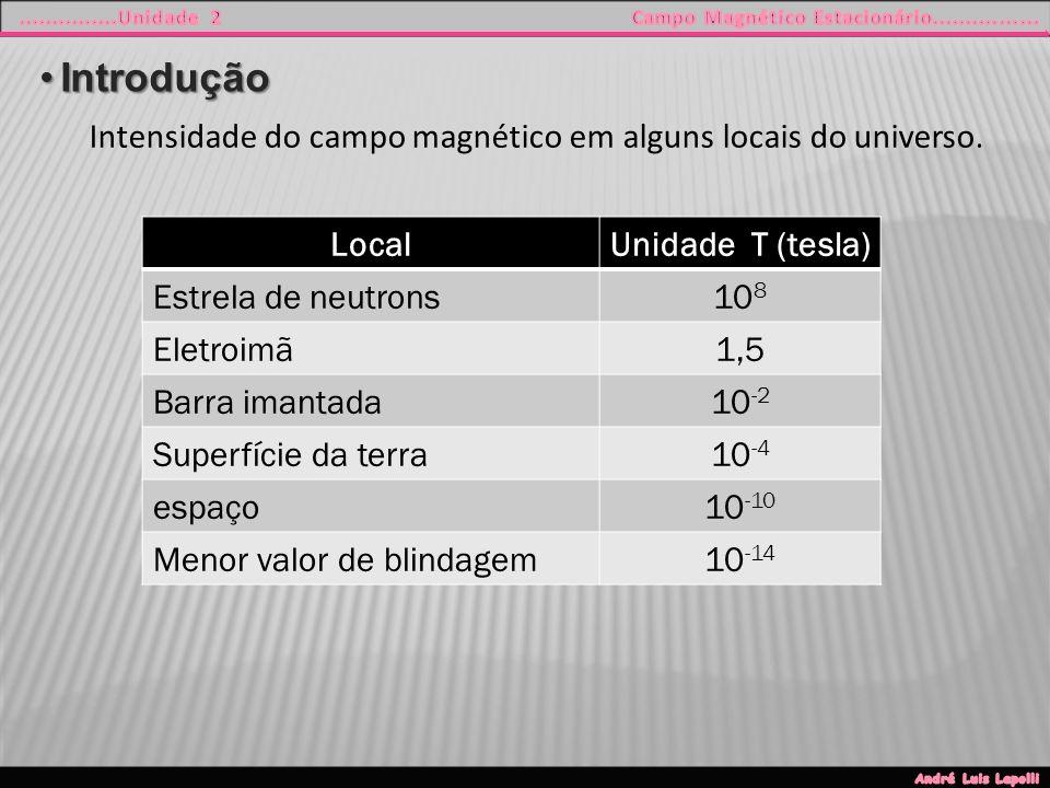 IntroduçãoIntrodução LocalUnidade T (tesla) Estrela de neutrons10 8 Eletroimã1,5 Barra imantada10 -2 Superfície da terra10 -4 espaço10 -10 Menor valor de blindagem10 -14 Intensidade do campo magnético em alguns locais do universo.