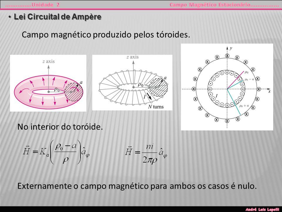 Lei Circuital de AmpèreLei Circuital de Ampère Campo magnético produzido pelos tóroides.
