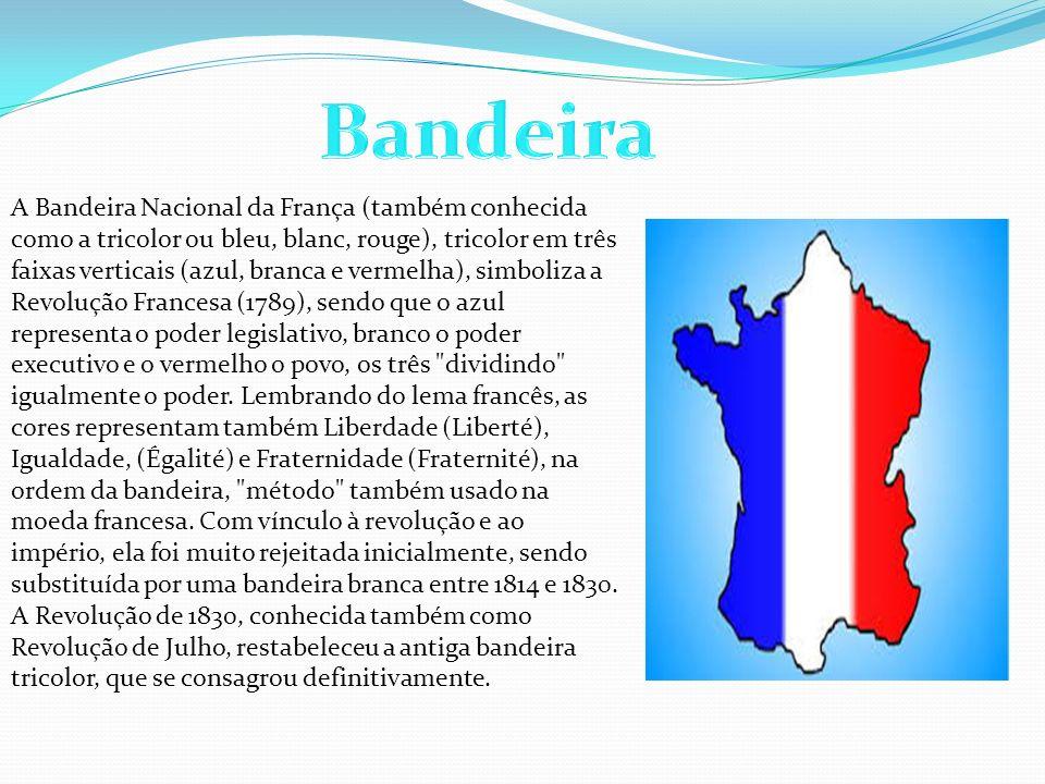A Bandeira Nacional da França (também conhecida como a tricolor ou bleu, blanc, rouge), tricolor em três faixas verticais (azul, branca e vermelha), s