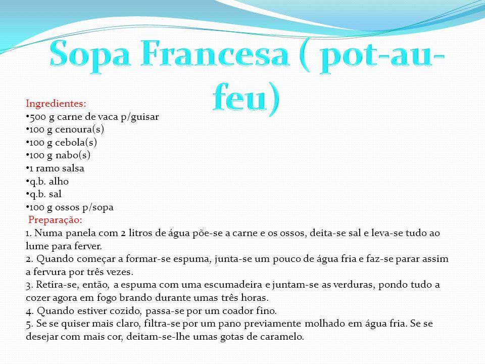 Ingredientes: 500 g carne de vaca p/guisar 100 g cenoura(s) 100 g cebola(s) 100 g nabo(s) 1 ramo salsa q.b. alho q.b. sal 100 g ossos p/sopa Preparaçã