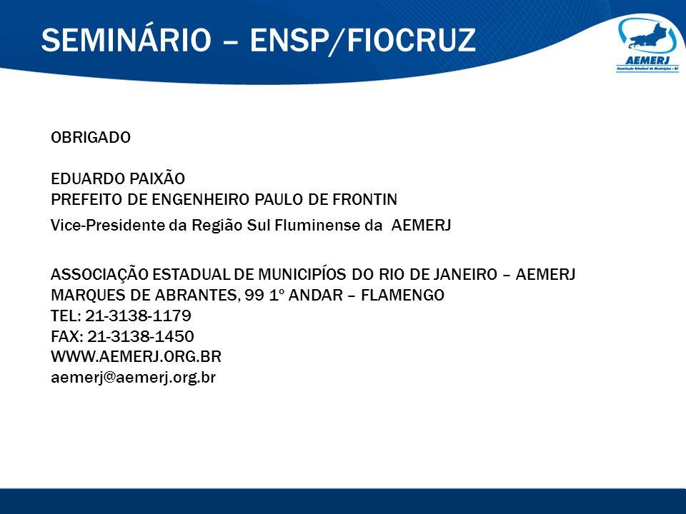 © 2008-2009. SIGFácil, SIGISS Digital e SIGPub são soluções providas pela Vox Tecnologia. SEMINÁRIO – ENSP/FIOCRUZ OBRIGADO EDUARDO PAIXÃO PREFEITO DE