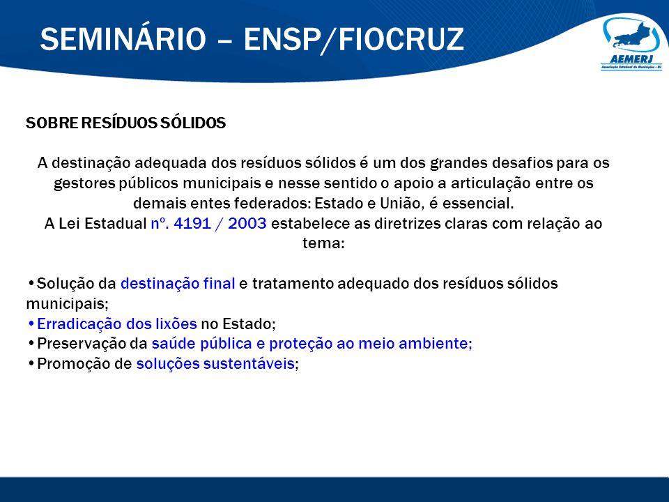 © 2008-2009. SIGFácil, SIGISS Digital e SIGPub são soluções providas pela Vox Tecnologia. SEMINÁRIO – ENSP/FIOCRUZ SOBRE RESÍDUOS SÓLIDOS A destinação