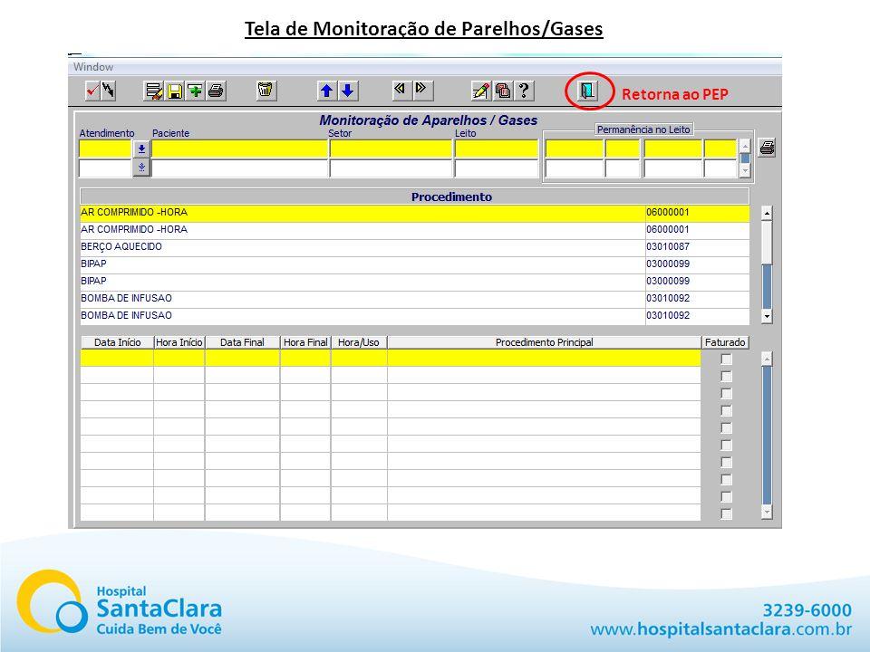 Tela de Monitoração de Parelhos/Gases Retorna ao PEP