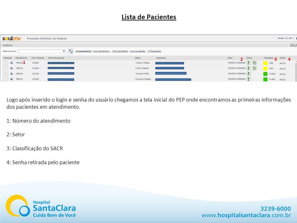 Lista de Pacientes 1 234 Logo após inserido o login e senha do usuário chegamos a tela inicial do PEP onde encontramos as primeiras informações dos pa