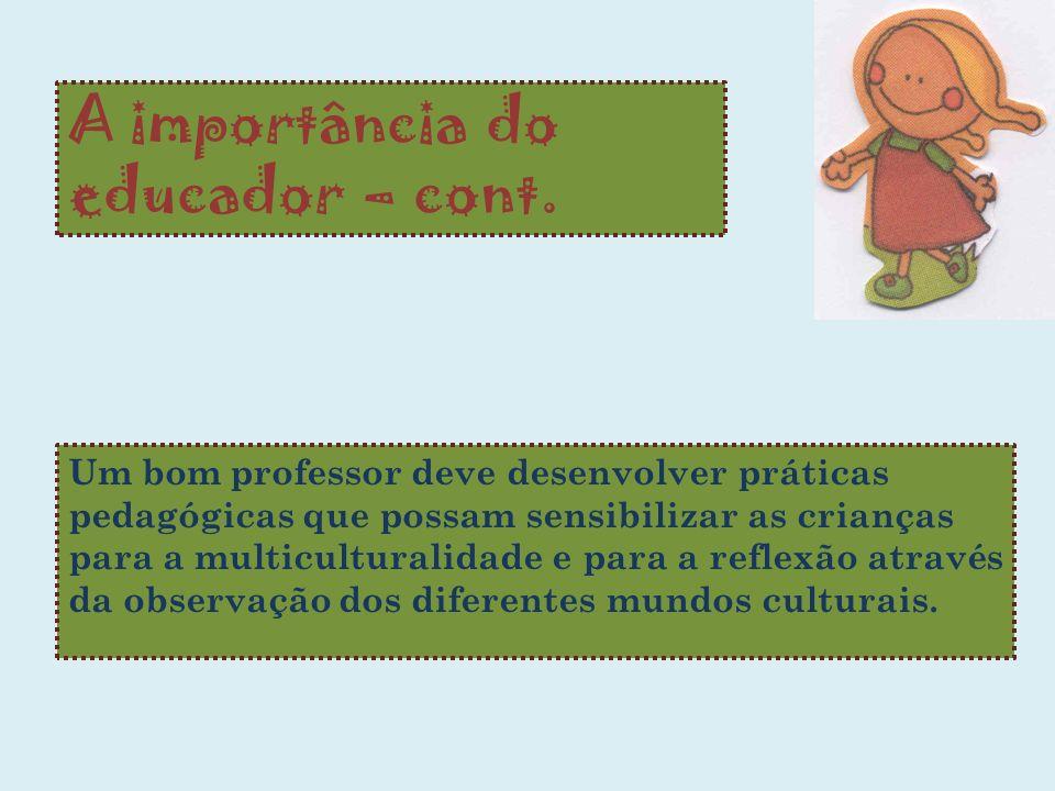 A importância do educador – cont. Um bom professor deve desenvolver práticas pedagógicas que possam sensibilizar as crianças para a multiculturalidade