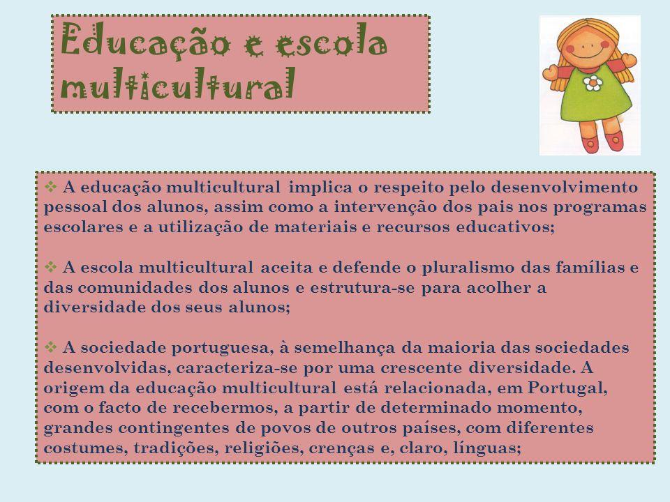 Educação e escola multicultural A educação multicultural implica o respeito pelo desenvolvimento pessoal dos alunos, assim como a intervenção dos pais