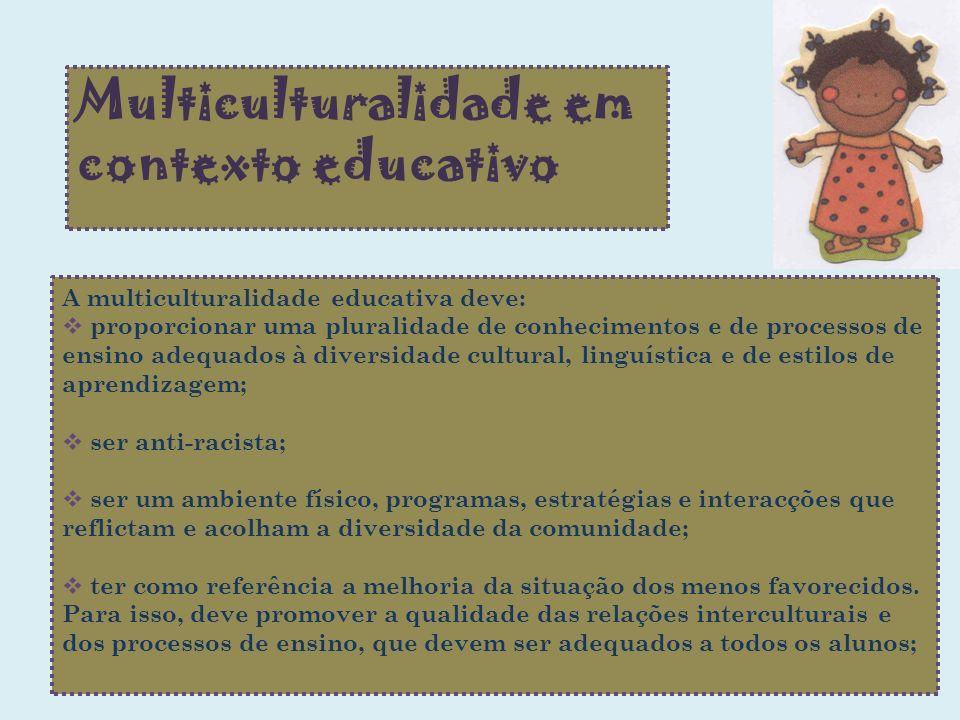 Multiculturalidade em contexto educativo A multiculturalidade educativa deve: proporcionar uma pluralidade de conhecimentos e de processos de ensino a
