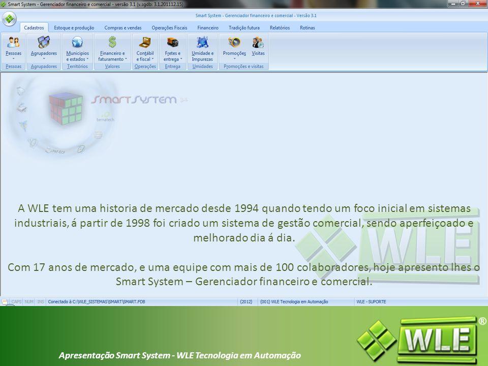 Apresentação Smart System - WLE Tecnologia em Automação Sistema de controle gerencial utilizado em diversos segmentos de mercado.