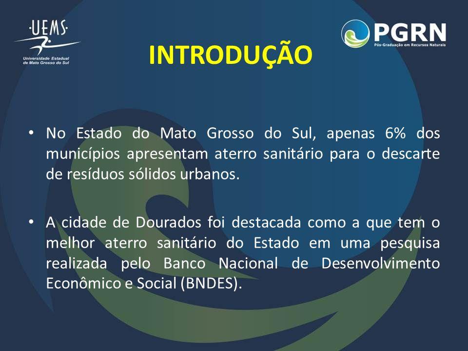 INTRODUÇÃO No Estado do Mato Grosso do Sul, apenas 6% dos municípios apresentam aterro sanitário para o descarte de resíduos sólidos urbanos. A cidade