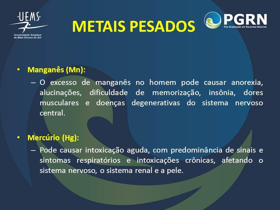 METAIS PESADOS Manganês (Mn): – O excesso de manganês no homem pode causar anorexia, alucinações, dificuldade de memorização, insônia, dores musculare