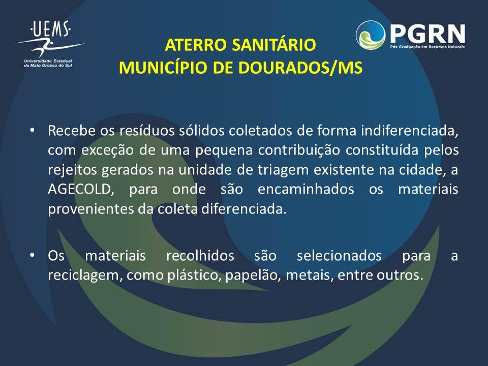 ATERRO SANITÁRIO MUNICÍPIO DE DOURADOS/MS Recebe os resíduos sólidos coletados de forma indiferenciada, com exceção de uma pequena contribuição consti