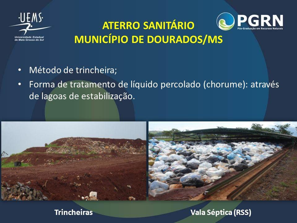 ATERRO SANITÁRIO MUNICÍPIO DE DOURADOS/MS Método de trincheira; Forma de tratamento de líquido percolado (chorume): através de lagoas de estabilização