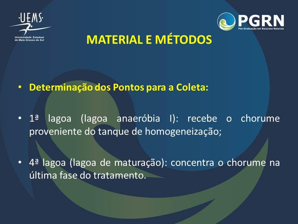 MATERIAL E MÉTODOS Determinação dos Pontos para a Coleta: 1ª lagoa (lagoa anaeróbia I): recebe o chorume proveniente do tanque de homogeneização; 4ª l