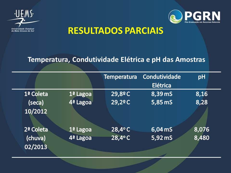 RESULTADOS PARCIAIS Temperatura, Condutividade Elétrica e pH das Amostras