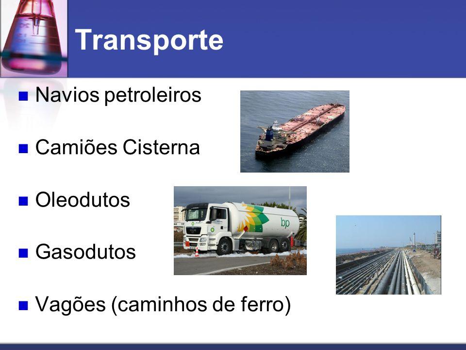 Transporte Navios petroleiros Camiões Cisterna Oleodutos Gasodutos Vagões (caminhos de ferro)