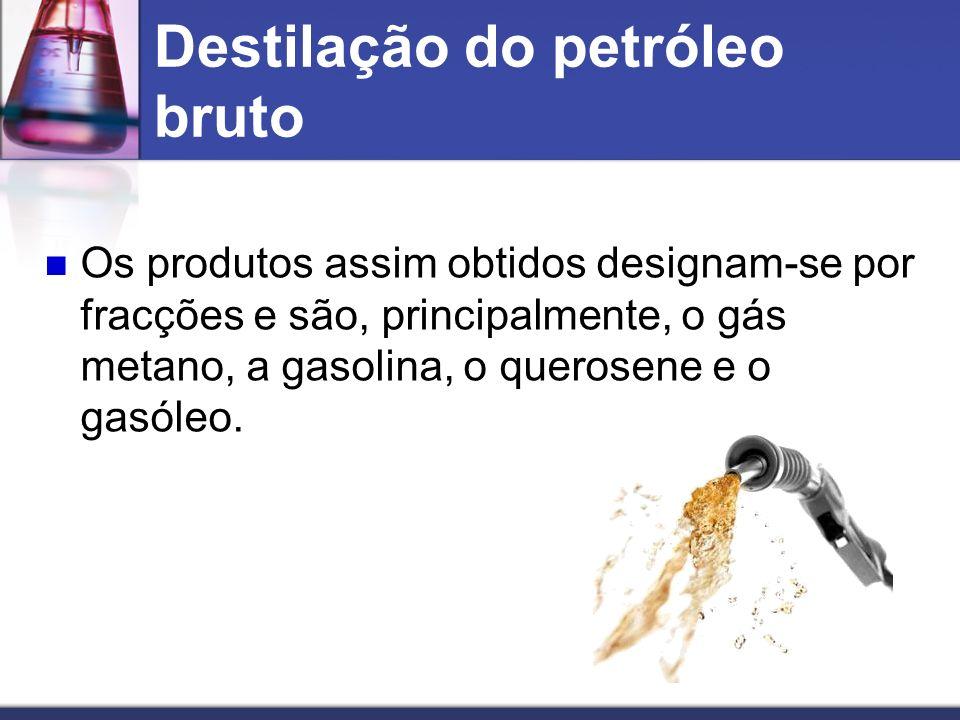 Os produtos assim obtidos designam-se por fracções e são, principalmente, o gás metano, a gasolina, o querosene e o gasóleo. Destilação do petróleo br