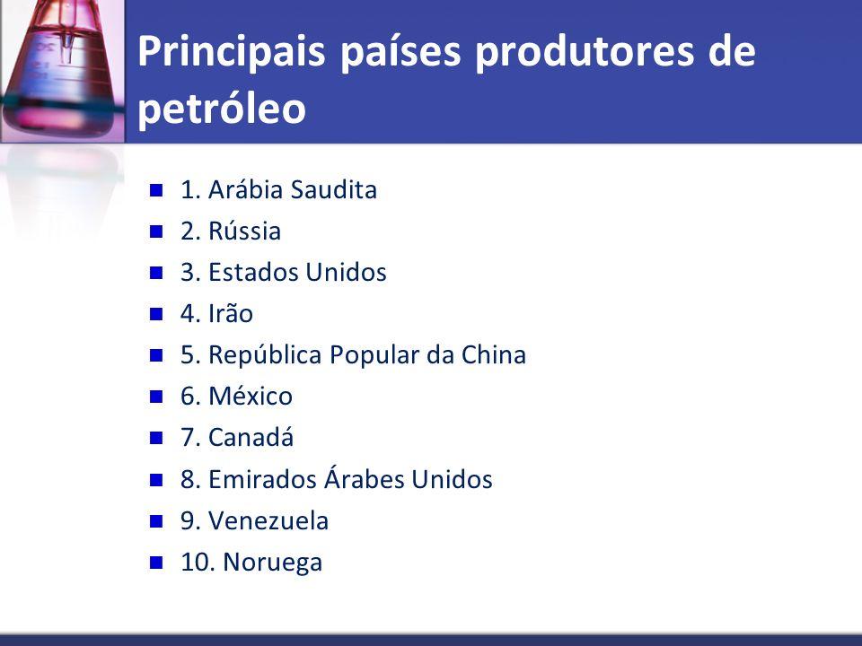 Principais países produtores de petróleo 1. Arábia Saudita 2. Rússia 3. Estados Unidos 4. Irão 5. República Popular da China 6. México 7. Canadá 8. Em