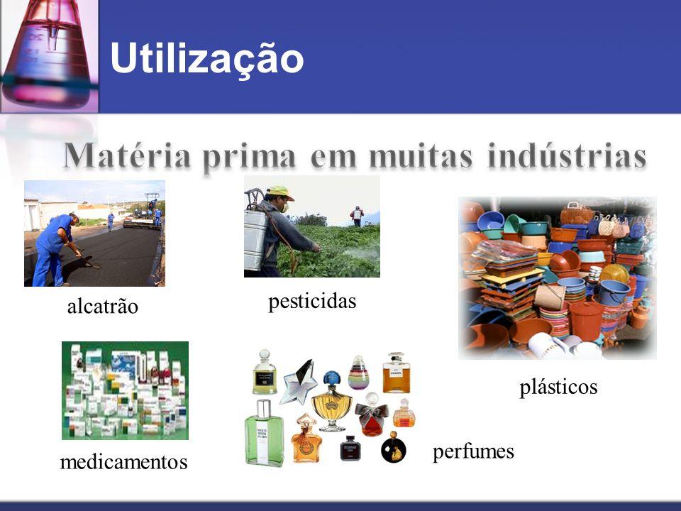 Utilização medicamentos plásticos pesticidas perfumes alcatrão