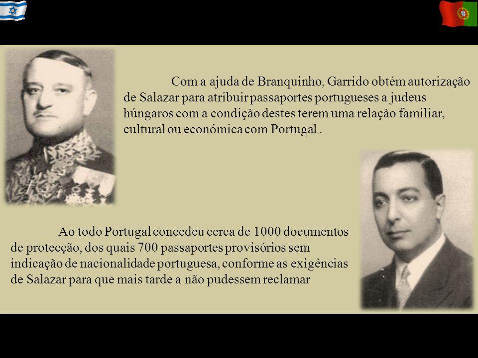 Com a ajuda de Branquinho, Garrido obtém autorização de Salazar para atribuir passaportes portugueses a judeus húngaros com a condição destes terem uma relação familiar, cultural ou económica com Portugal.