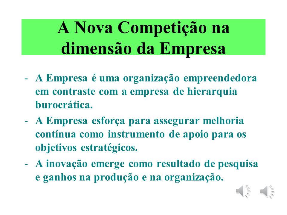 Empresa: a Nova Competição - no âmago da nova competição está a crença de que melhoria contínua será induzida pela organização empreendedora. - há mui