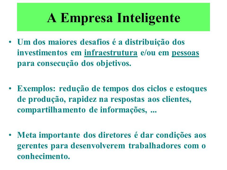 A Empresa Inteligente A noção que a organização segue a estratégia deve ser complementada pela estrutura que segue a tecnologia, as empresas se horizo