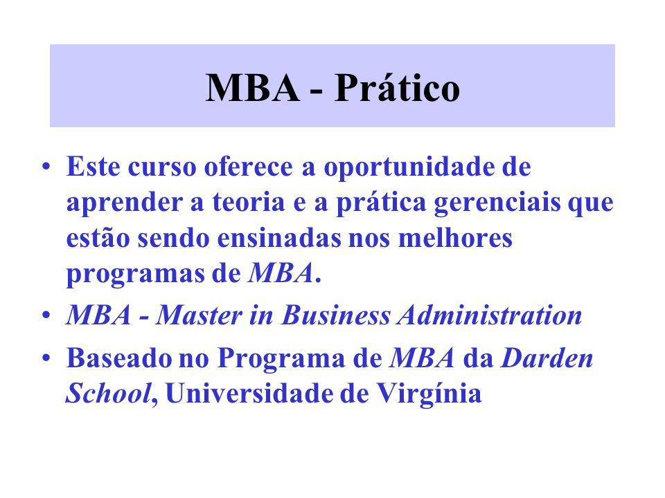 MBA - Prático Este curso oferece a oportunidade de aprender a teoria e a prática gerenciais que estão sendo ensinadas nos melhores programas de MBA.