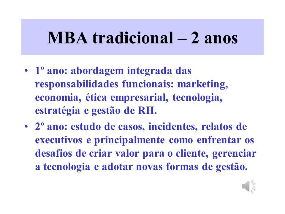 MBA tradicional – 2 anos 1º ano: abordagem integrada das responsabilidades funcionais: marketing, economia, ética empresarial, tecnologia, estratégia e gestão de RH.