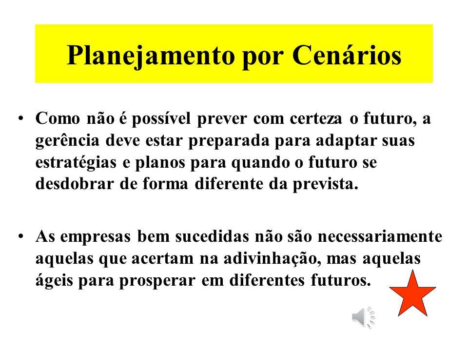 Planejamento por Cenários Não é possível predizer o futuro. Mas é possível e imprescindível analisar o futuro. Os gerentes precisam pensar com mais am