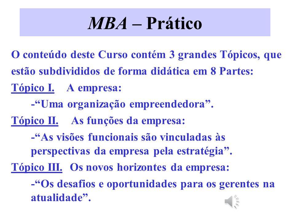 MBA – Prático O conteúdo deste Curso contém 3 grandes Tópicos, que estão subdivididos de forma didática em 8 Partes: Tópico I.