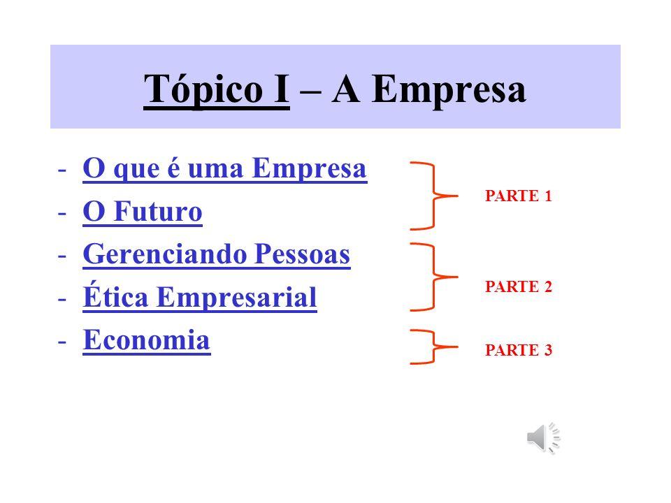 Tópico I – A Empresa -O que é uma Empresa -O Futuro -Gerenciando Pessoas -Ética Empresarial -Economia PARTE 1 PARTE 2 PARTE 3