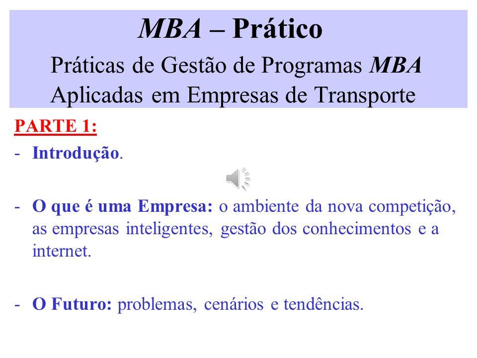 MBA – Prático Práticas de Gestão de Programas MBA Aplicadas em Empresas de Transporte PARTE 1: -Introdução.