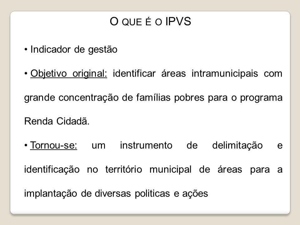Indicador de gestão Objetivo original: identificar áreas intramunicipais com grande concentração de famílias pobres para o programa Renda Cidadã. Torn