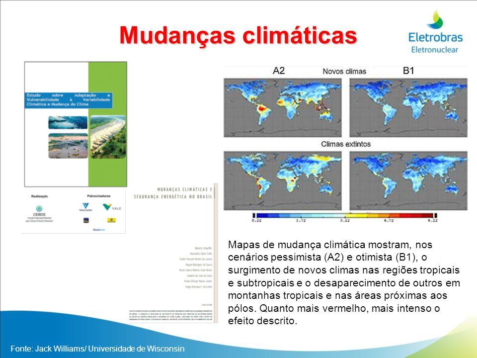 Mudanças climáticas Mapas de mudança climática mostram, nos cenários pessimista (A2) e otimista (B1), o surgimento de novos climas nas regiões tropica