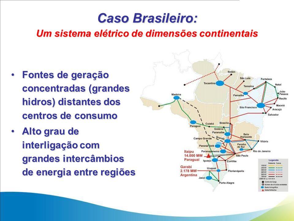 Caso Brasileiro: Um sistema elétrico de dimensões continentais Fontes de geração concentradas (grandes hidros) distantes dos centros de consumoFontes
