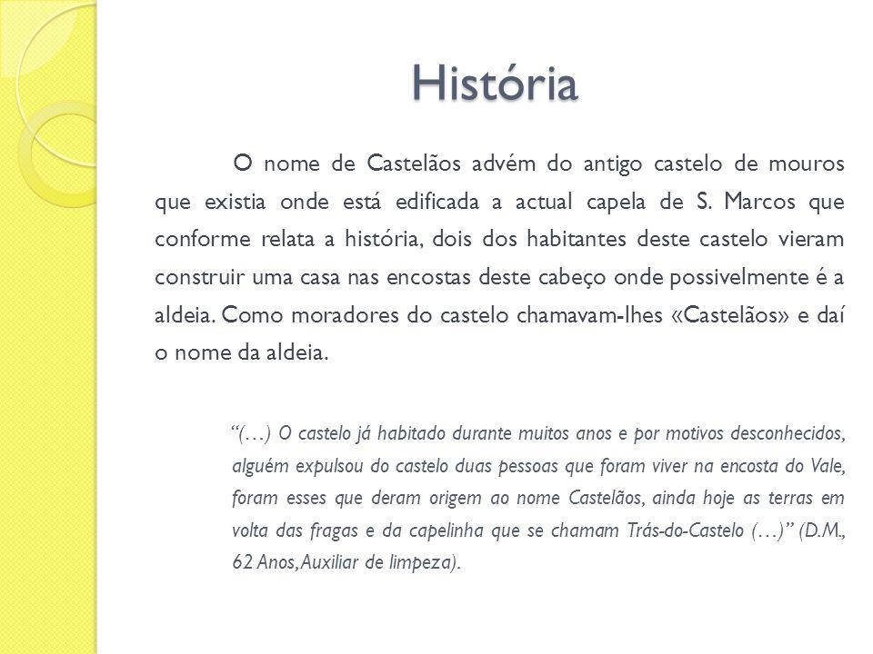 História O nome de Castelãos advém do antigo castelo de mouros que existia onde está edificada a actual capela de S. Marcos que conforme relata a hist