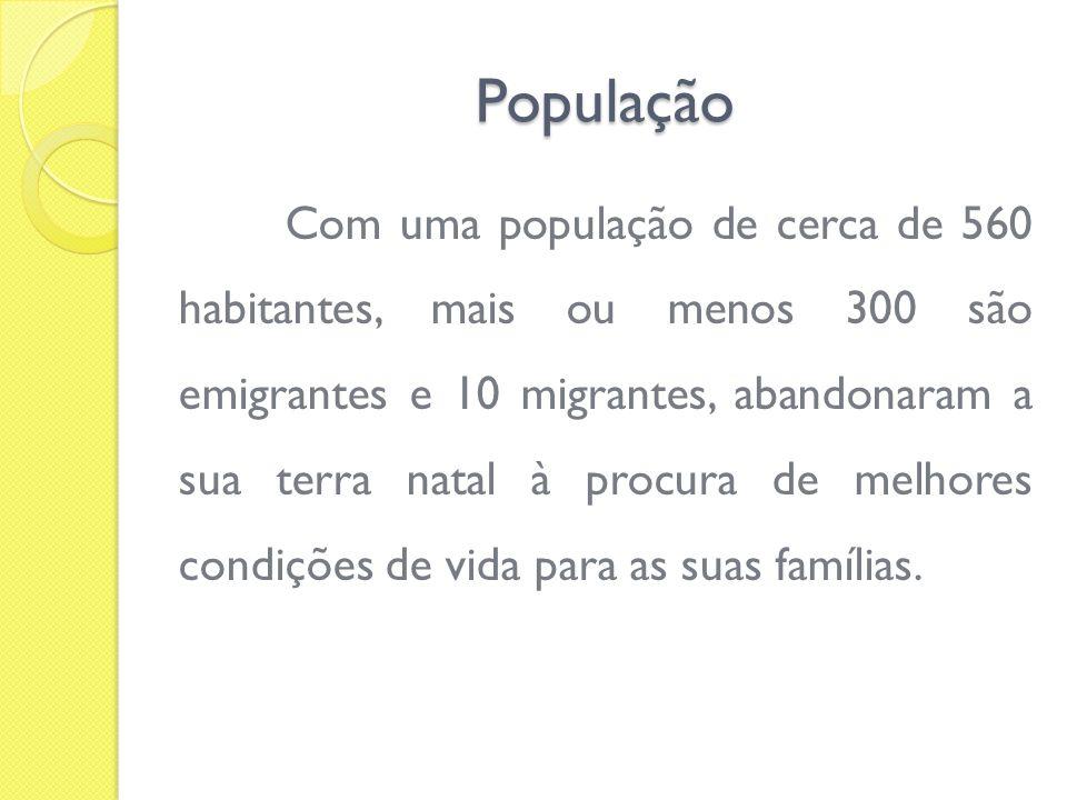População Com uma população de cerca de 560 habitantes, mais ou menos 300 são emigrantes e 10 migrantes, abandonaram a sua terra natal à procura de me