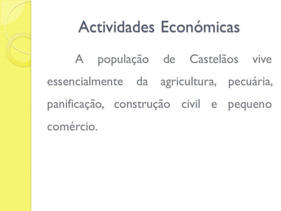 Actividades Económicas A população de Castelãos vive essencialmente da agricultura, pecuária, panificação, construção civil e pequeno comércio.