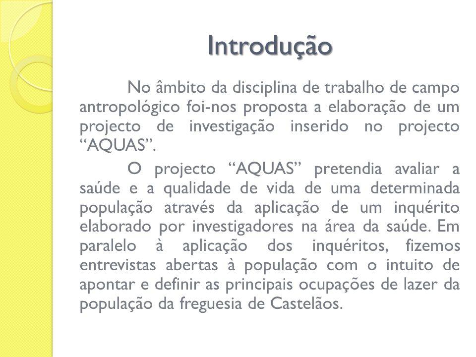 Introdução No âmbito da disciplina de trabalho de campo antropológico foi-nos proposta a elaboração de um projecto de investigação inserido no project