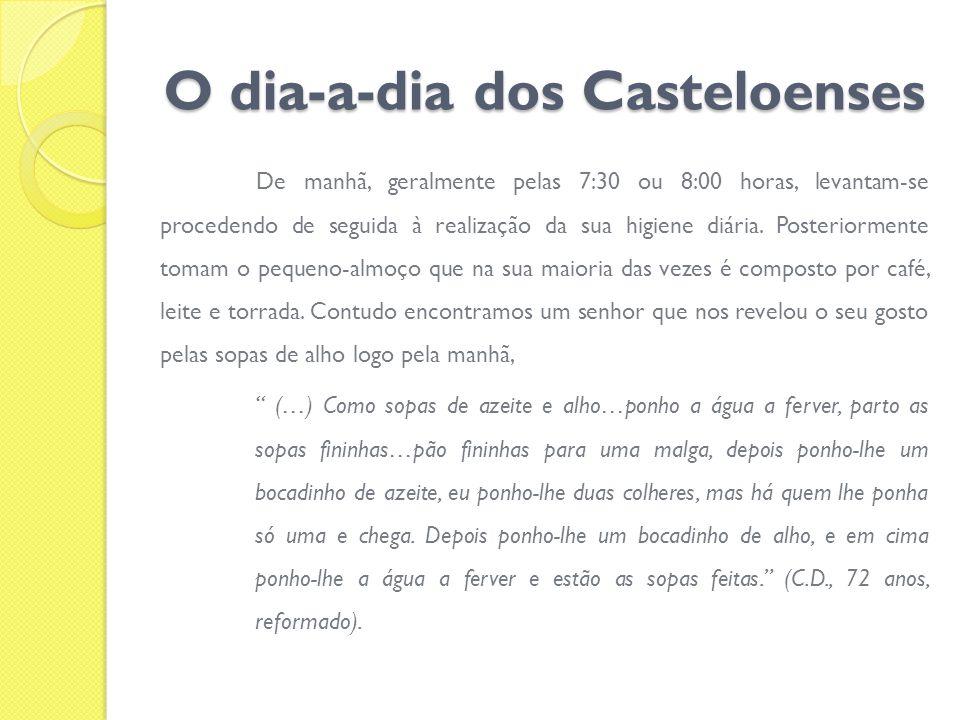O dia-a-dia dos Casteloenses De manhã, geralmente pelas 7:30 ou 8:00 horas, levantam-se procedendo de seguida à realização da sua higiene diária. Post
