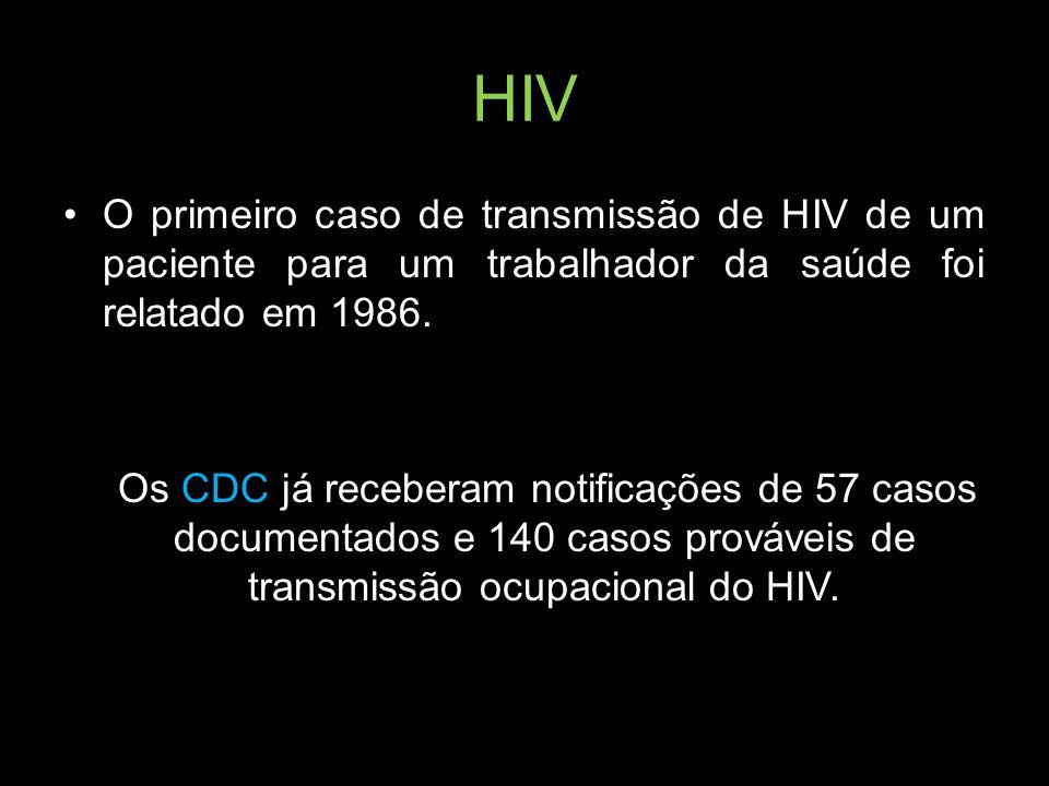 HIV O primeiro caso de transmissão de HIV de um paciente para um trabalhador da saúde foi relatado em 1986. Os CDC já receberam notificações de 57 cas